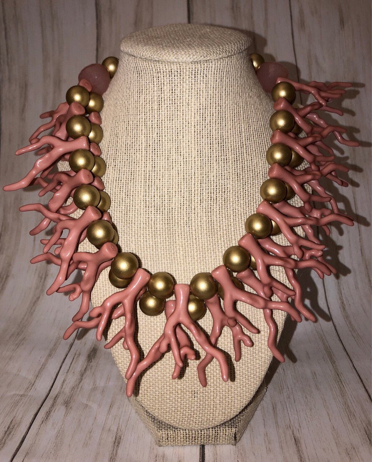 2 Row Pink/Gold Coral Necklace