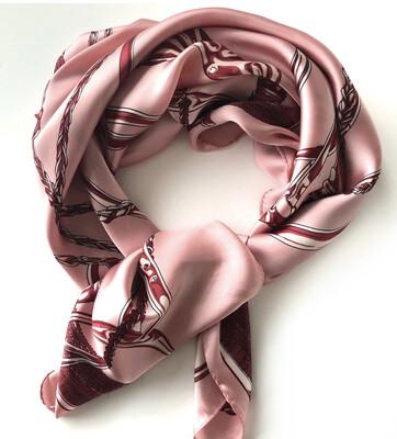Equestrian Print Pink Square Scarf