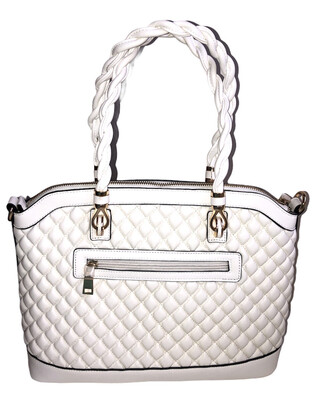 Quilted White Zip Bag