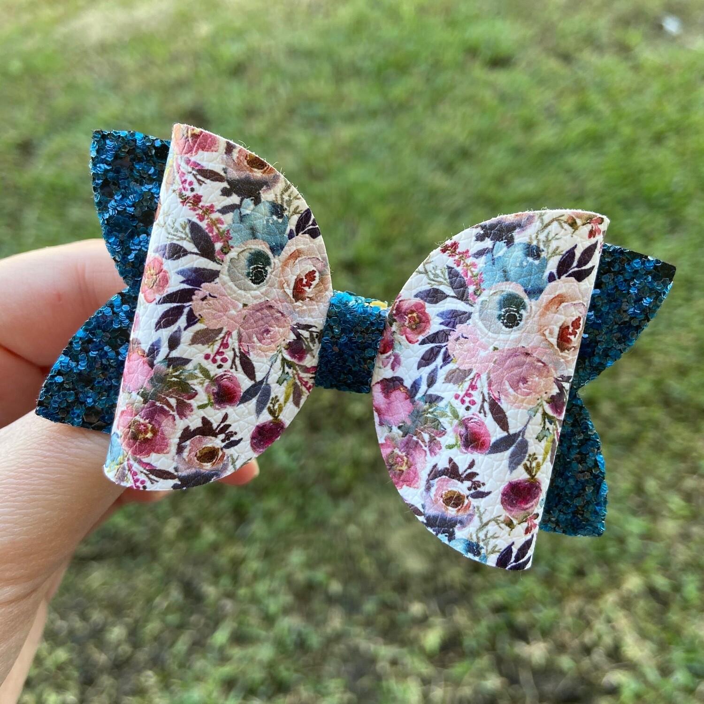 Blue Elegance Floral Bow