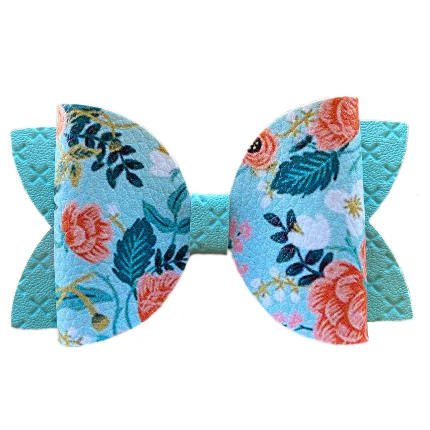 Blue Floral Bow