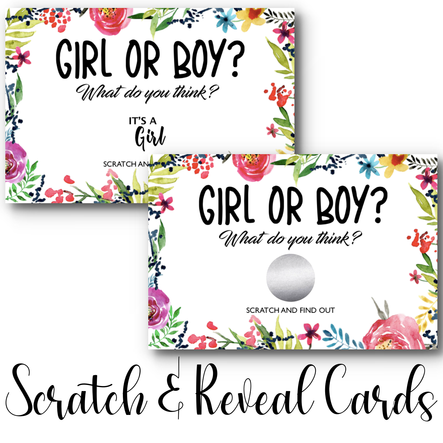 Floral Gender Reveal Scratch & Reveal Card