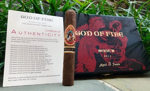 GOD OF FIRE SERIE B 2017 DOUBLE ROBUSTO 5.75x52 BOX OF 10