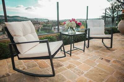 Outdoor 3-Piece Rocking Bistro Set: Black Wicker Furniture-Two Chairs with Glass Coffee Table (Beige Cushion)