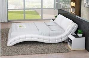 Smart LED Bedroom Furniture Double Modern Leather Bed (LB8824B)