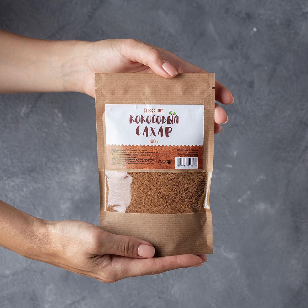 Сахар  кокосовый нектарный коричневый nature  100 гр. COCO DAY