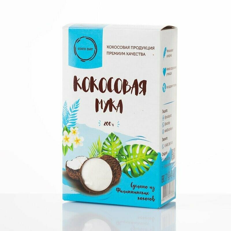 Мука кокосовая бережной обработки nature  200 гр. COCO DAY