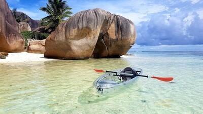 LA DIGUE: Kayak Tour - Robinson Crusoe - 3 Stunden mit Crystal Water Kayaks (Glas Kayaks), Preis: 40€, Anzahlung: