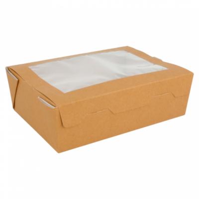 SCATOLE PER INSALATA CON FINESTRA - 1 L 300 G/M2 12x17x5,5 CM MARRONE CARTONE (25 UNITÀ)