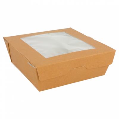 SCATOLE PER INSALATA CON FINESTRA 300 G/M2 12,5x12,5x5 CM MARRONE CARTONE (50 UNITÀ)