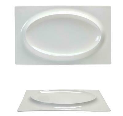 Tirolix - Piatto Rettangolare Con Rilievo 30x19 cm Gourmet Bone China