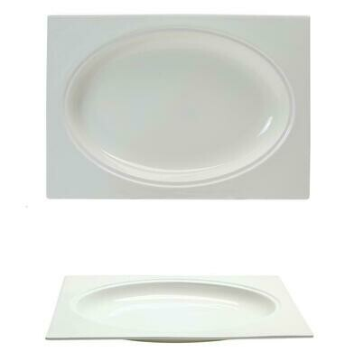 Tirolix - Piatto Fondo Rettangolare 30x21 cm Gourmet Bone China