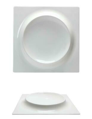 Tirolix - Piatto Quadro Con Rilievo 30x30 cm Gourmet Bone China