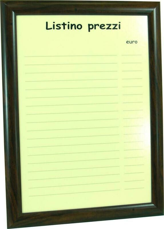 Cornice Listino Bar 47x35 cm Noce PNC01 - Nero Lavagne