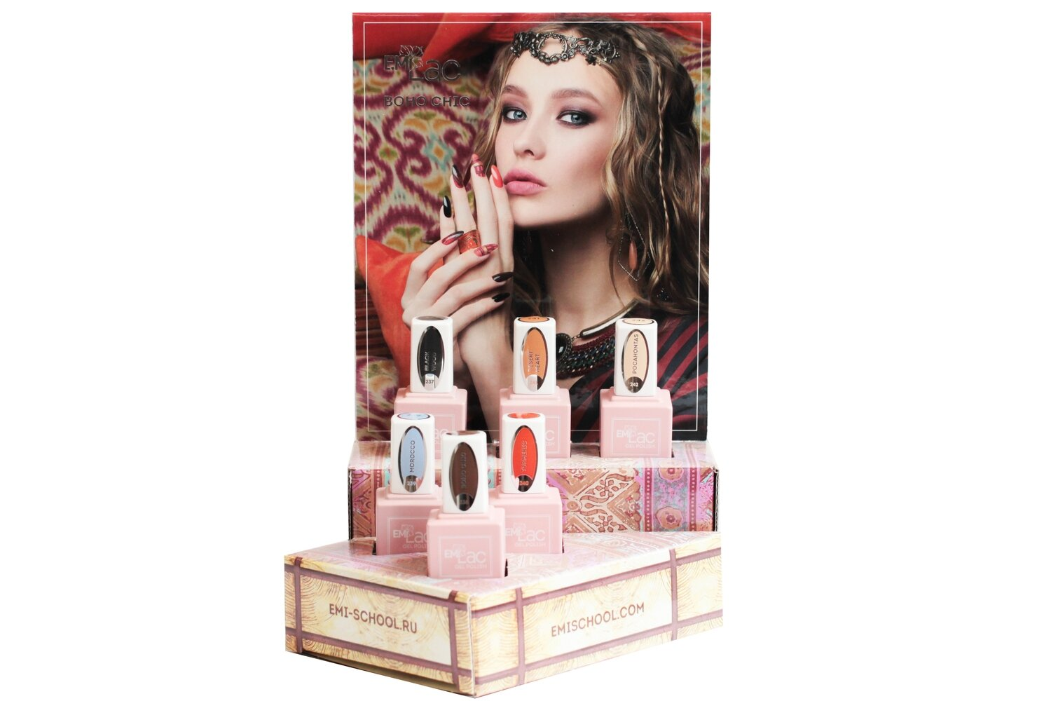 Display E.MiLac and Nail Polish Gel Effect Boho Chic + Set 9 ml.