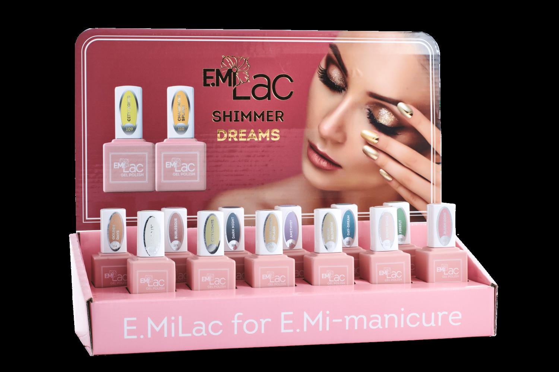 Set van 9 E.MiLac Shimmer Dreams + Gratis Display en zelfklevende etiketten voor een kleurendisplay