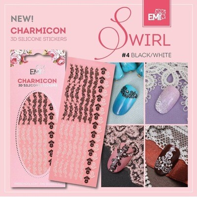 Charmicon Silicone Stickers Swirl #4 Black/White