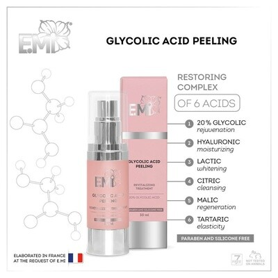 Glycolic Acid Peeling, 30 ml. Silicons and parabens free