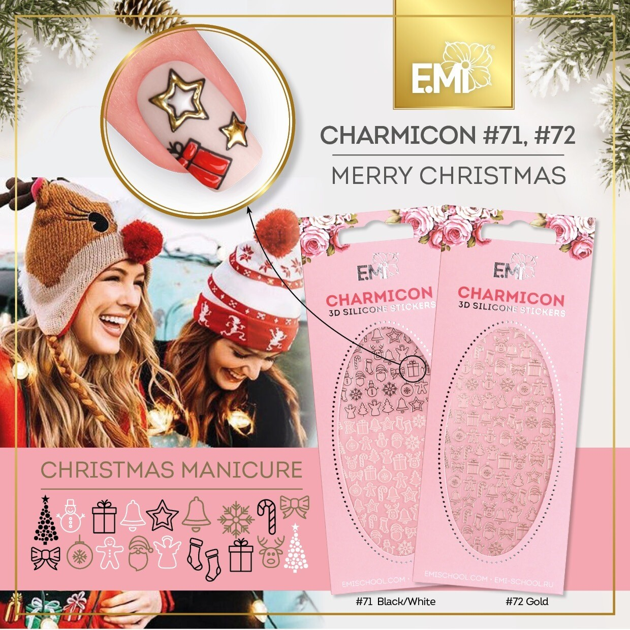 Charmicon Silicone Stickers #71 Merry Christmas BLACK/WHITE