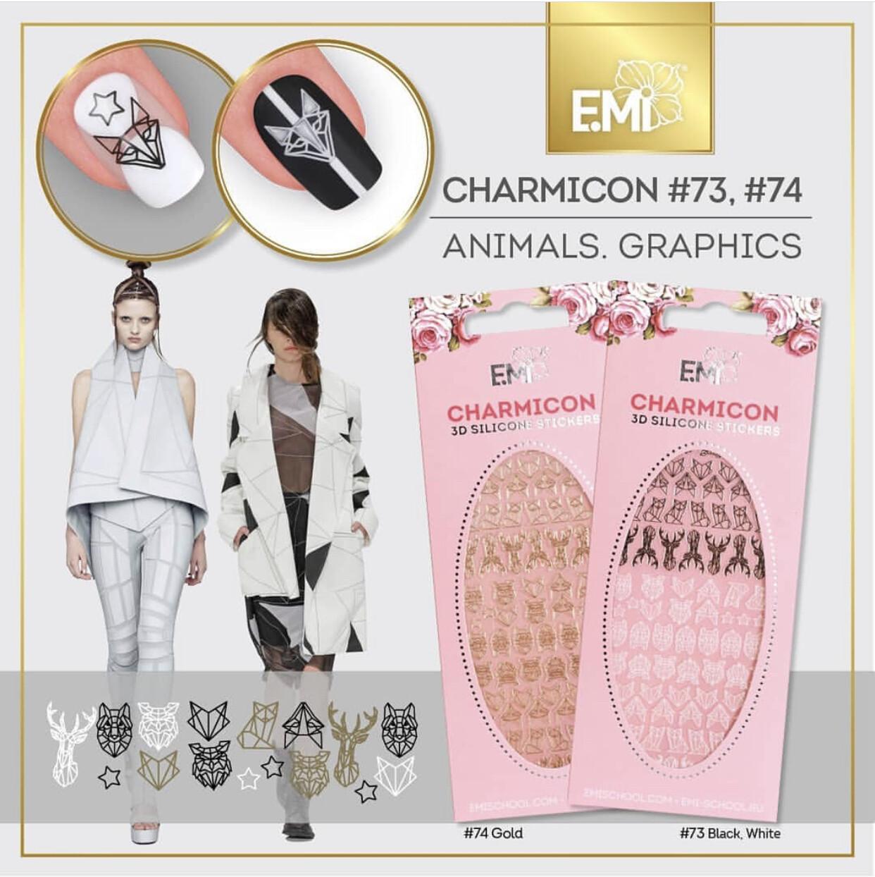 Charmicon Silicone Stickers #73 Animals.Graphics BLACK/WHITE