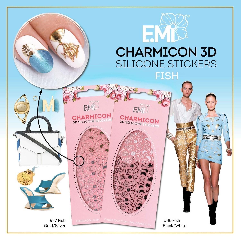Charmicon Silicone Stickers #47 Fish Gold/Silver