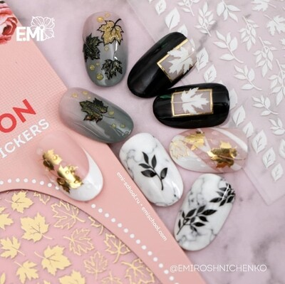 Charmicon Silicone Stickers #65 Leaves Gold