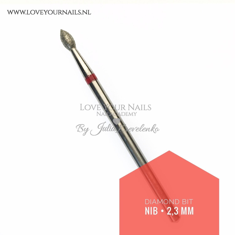 Diamant freesbit vlam kort (druppel), rood(zacht) 2,3 mm Diamond Nib bit - Fine