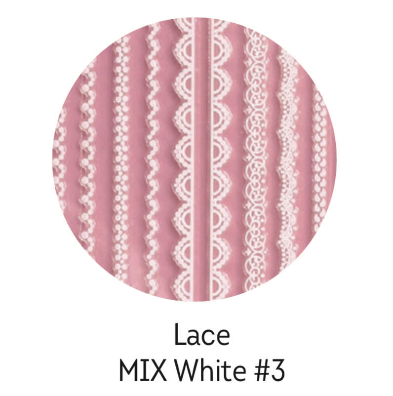 Charmicon Silicone Stickers Lace MIX White #3