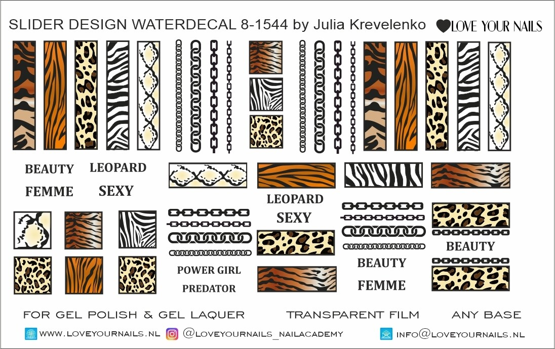 Lion, Zebra, Leopard, Tiger strokes 8-1544