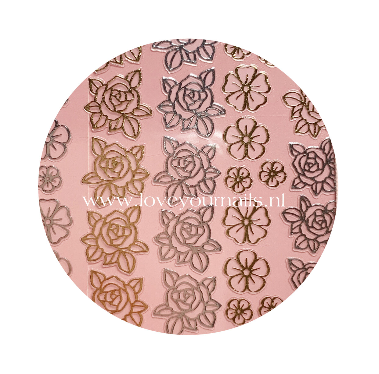 Charmicon Silicone Stickers Flowers MIX #1 Gold/Silver