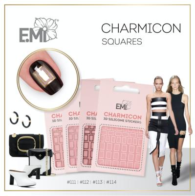 Charmicon Silicone Stickers #114 Squares White