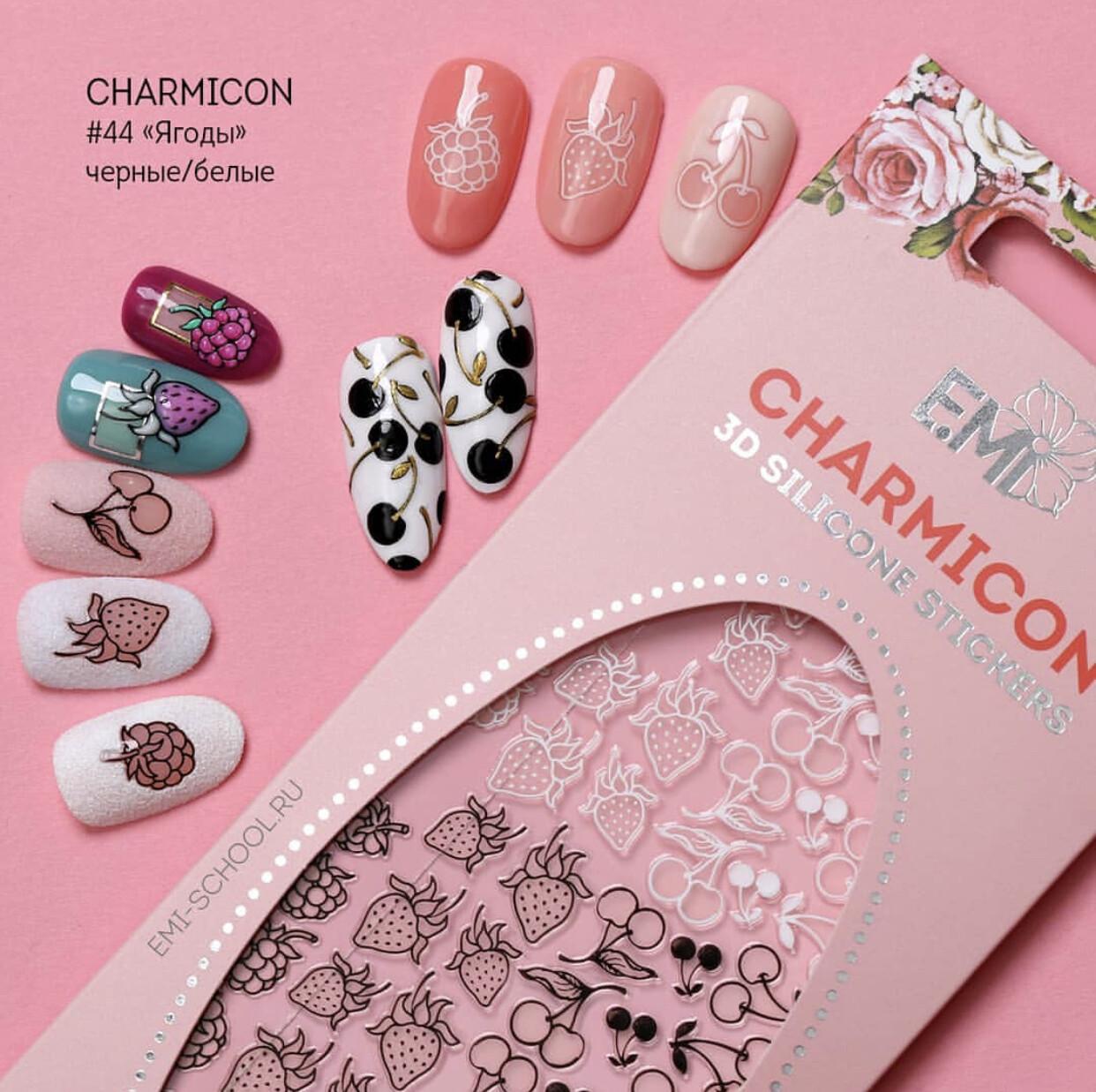 Charmicon Silicone Stickers #44 Berries Black/White