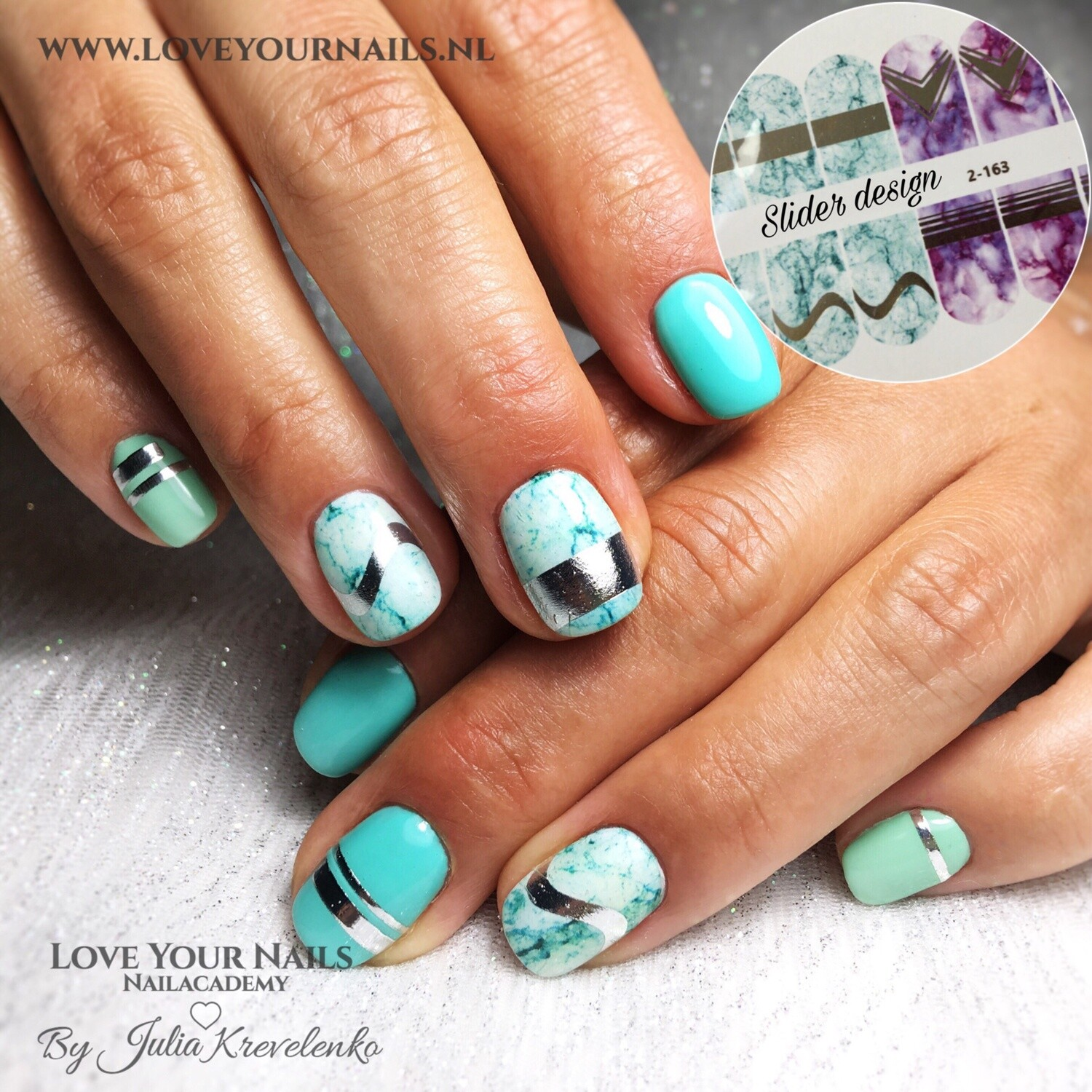 Marble turquoise and violet 2-163