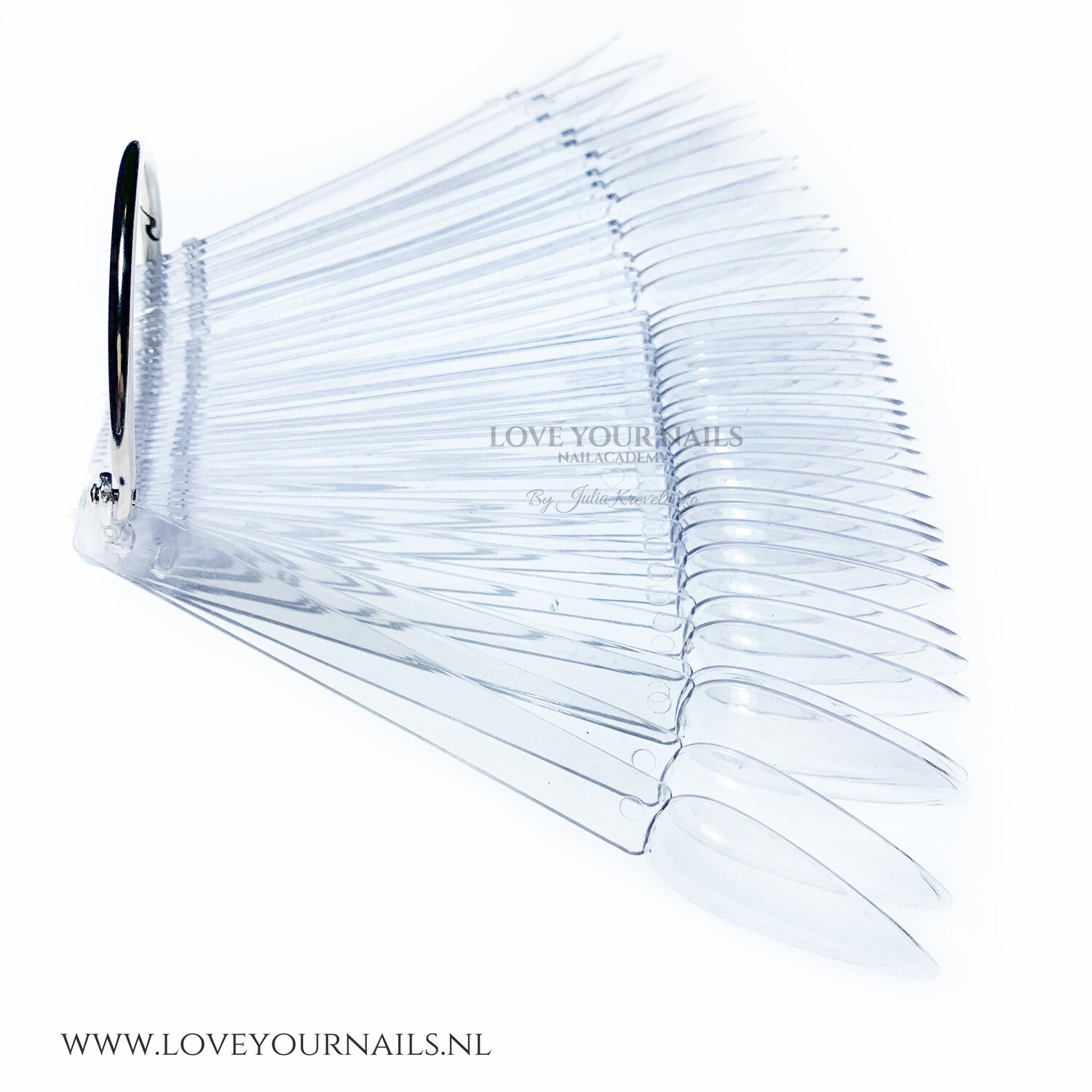 Clear Stiletto Nail Display Tips Sticks with Ring. 50 pcs