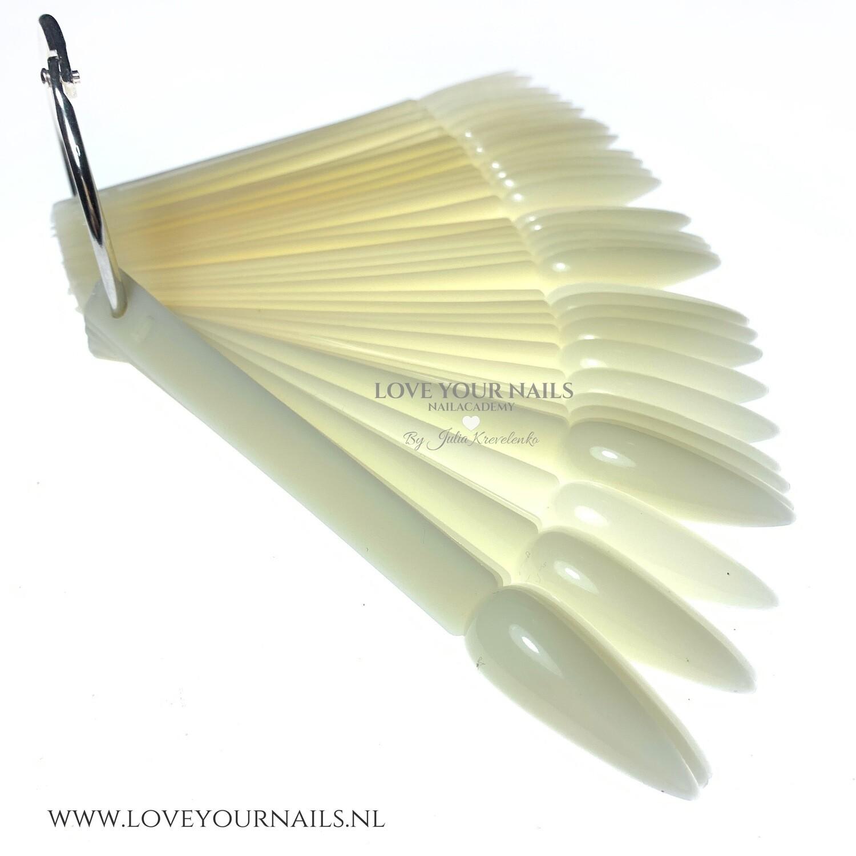 Natural Stiletto Nail Display Tips Sticks with Ring. 50 pcs