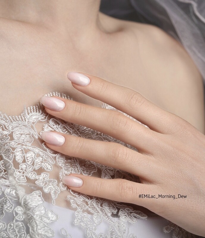 E.MiLac #148 Morning Dew — cold white shade with sparkling silver shimmer