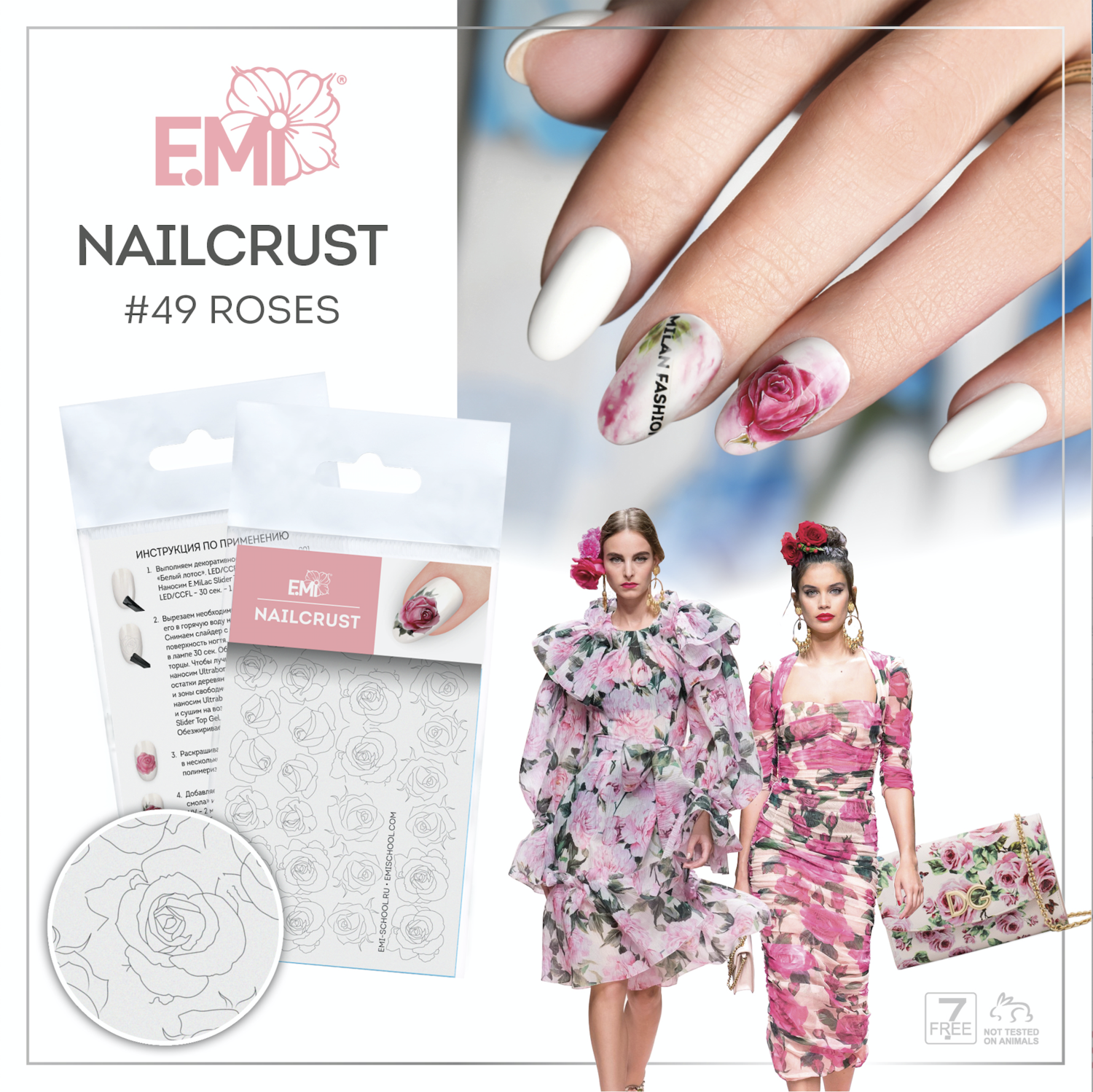 NAILCRUST Pattern Sliders #49 Roses