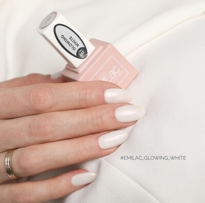 E.MiLac #147 Glowing White — luxurious white shade with subtle shimmer