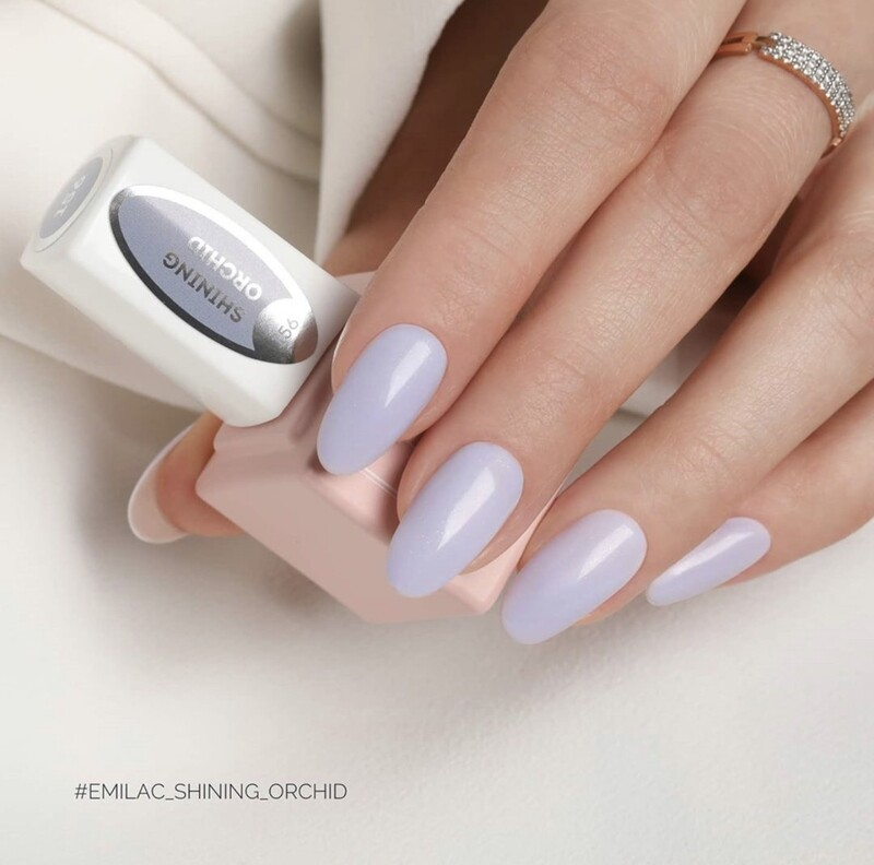 E.MiLac #156 Shining Orchid — feminine light-lilac shade with silver shimmer