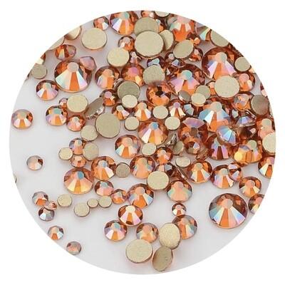 Crystal Stones Amber, 250st., ss3-ss20 in een zakje