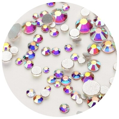 Crystal Stones Clear AB, 250st., ss3-ss20 in een zakje