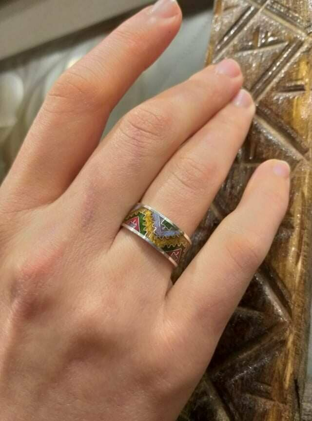 Silver ring Gift for her Authors work Adjustable ring Enamel ring A thousand and one night Cloisonn\u00e9 enamel Handmade Jewelry