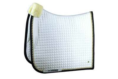 Dressage Saddle Pad, Wit/zwart, Pro
