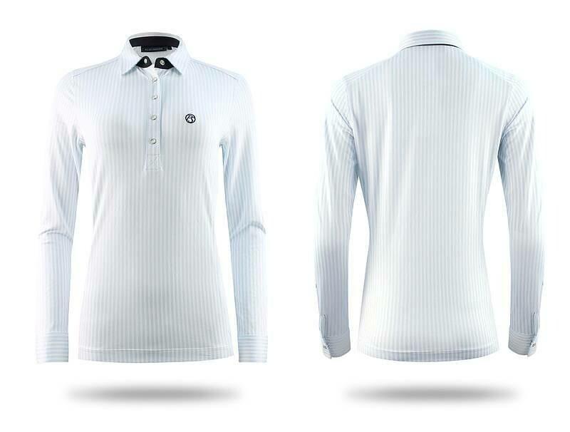 Polo shirt, June, Light Blue/White