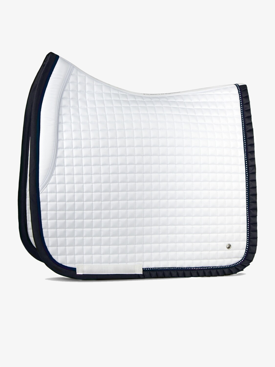 Dressage saddle pad, White/Navy, Ruffle