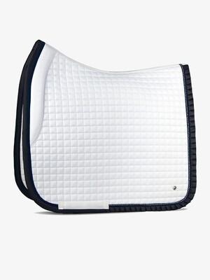 Dressage saddle pad, White/Navy, Ruffle