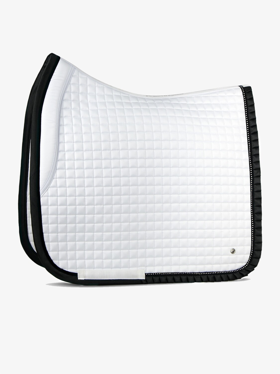 Dressage saddle pad, White/Black, Ruffle