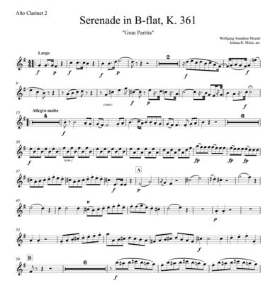 Mozart: Serenade in B-flat, K.361 (alto clarinet 2)