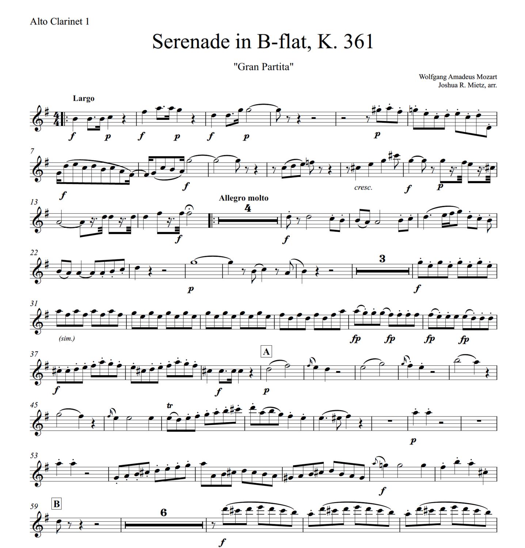 Mozart: Serenade in B-flat, K.361 (alto clarinet 1)