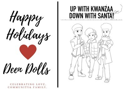 UP WITH KWANZAA  DOWN WITH SANTA COLORING BOOK E-POSTCARDS
